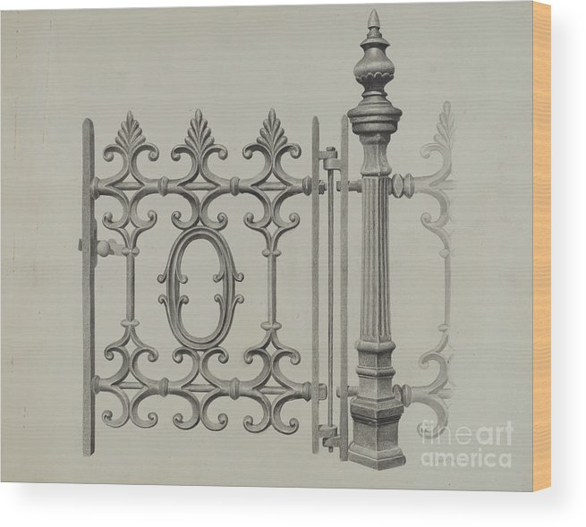 Wood Print featuring the drawing Gate And Gatepost by Jerome Hoxie