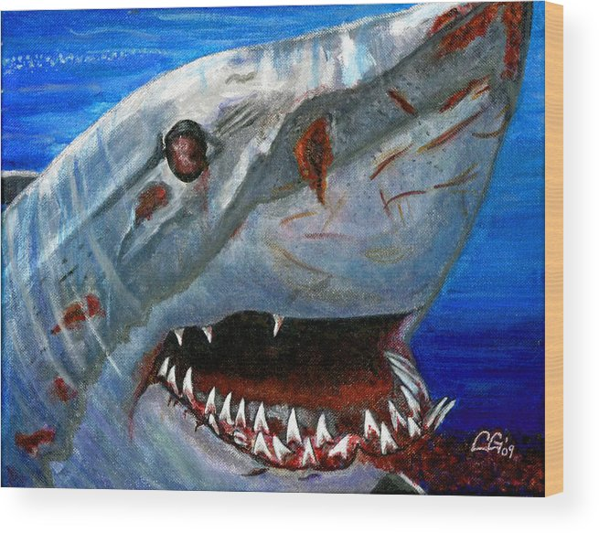 Animals Wood Print featuring the painting Happy Shark by BlondeRoots Productions