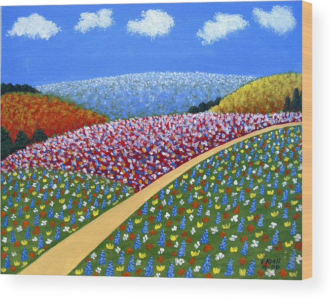 Landscape Paintings Wood Print featuring the painting Hills Of Flowers by Frederic Kohli