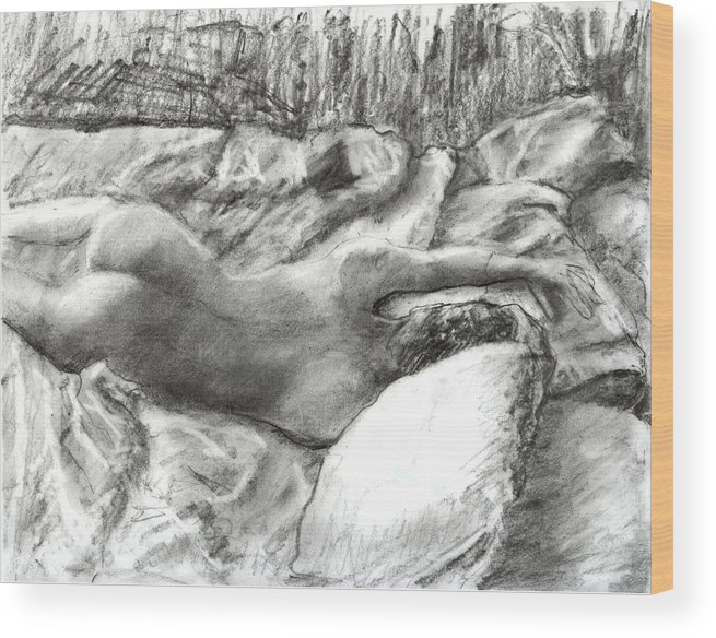 Nude Wood Print featuring the drawing Nude Maria In The Sheets by Randy Sprout