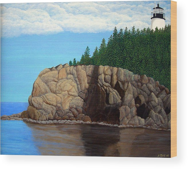 Lighthouse Paintings Wood Print featuring the painting Owls Head Lighthouse by Frederic Kohli