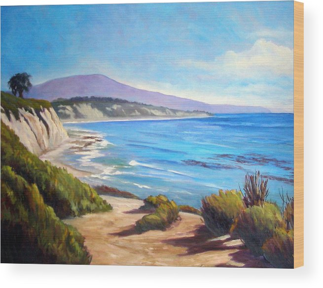 Ocean Wood Print featuring the painting Rincon Peak by Dorothy Nalls