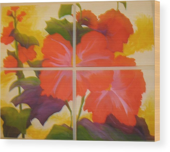Flower On Four Canvasses Wood Print featuring the painting To Brighten Your Day by Sheryl Sutherland