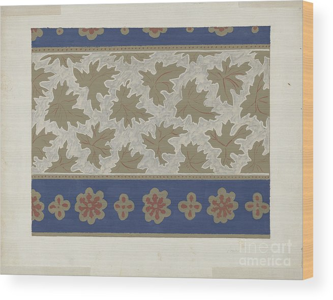 Wood Print featuring the drawing Wallpaper by American 20th Century