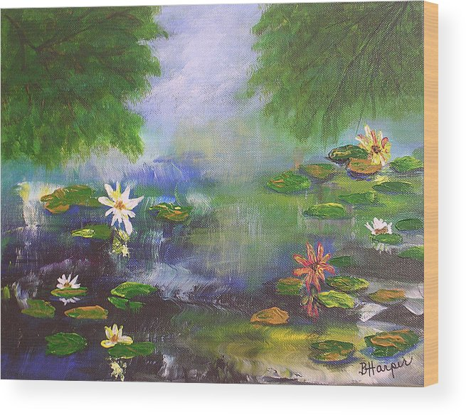 Flower Wood Print featuring the painting Water Lily Pond by Barbara Harper