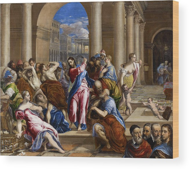 Christ Wood Print featuring the painting Christ Driving The Money Changers From The Temple by El Greco