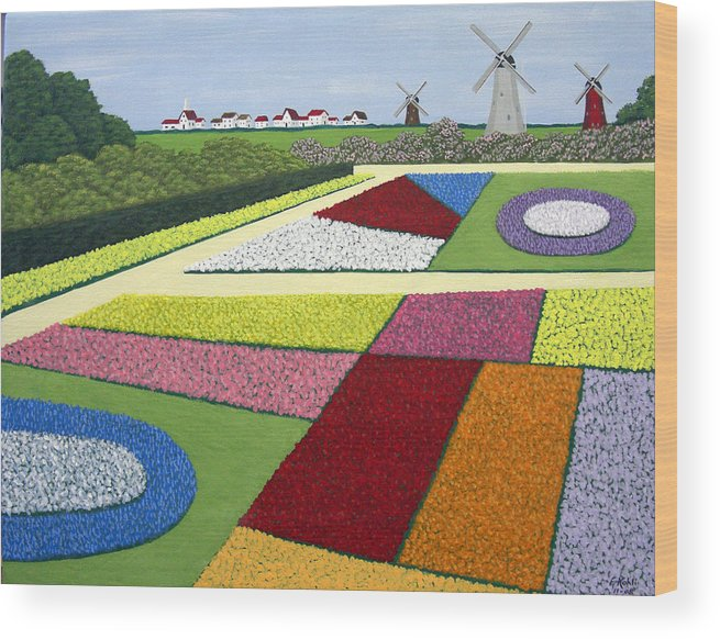 Landscape Paintings Wood Print featuring the painting Dutch Gardens by Frederic Kohli