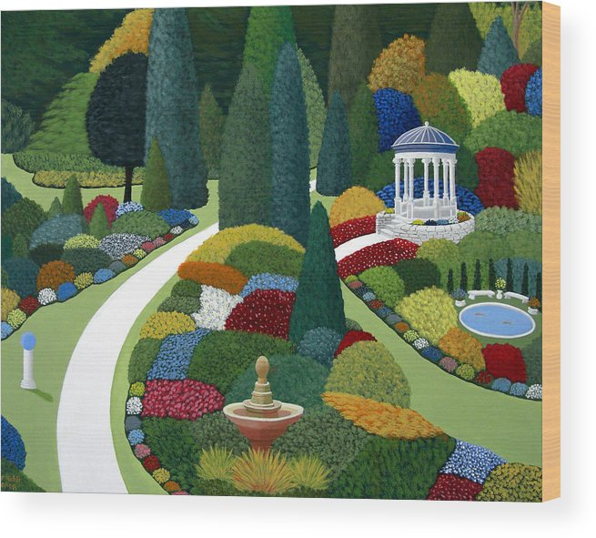 Landscape Paintings Wood Print featuring the painting Formal Gardens by Frederic Kohli