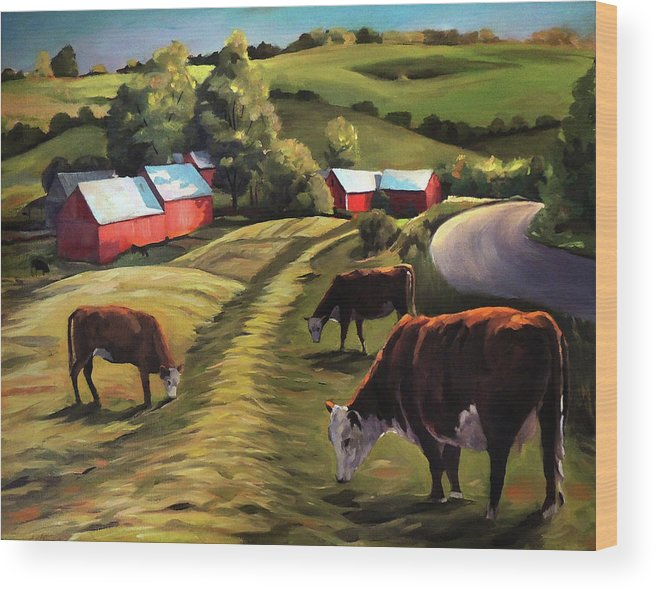 Cows Wood Print featuring the painting Jenne Farm In Reading Vermont by Nancy Griswold
