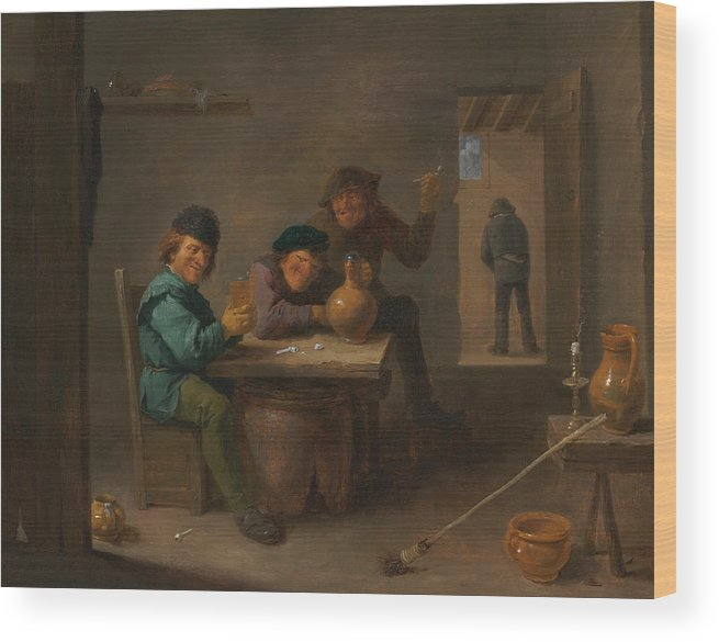 Baroque Wood Print featuring the painting Peasants In A Tavern by David Teniers the Younger