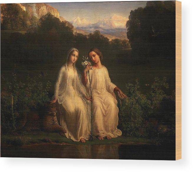 Louis Janmot - Poem Of The Soul 11 - Virginitas Wood Print featuring the painting Poem Of The Soul by MotionAge Designs
