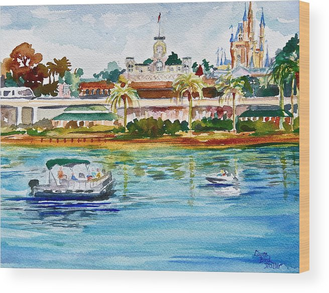 Walt Disney World Wood Print featuring the painting A Disney Sort Of Day by Laura Bird Miller