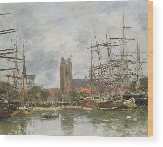 Boudin Wood Print featuring the painting A French Port by Eugene Louis Boudin