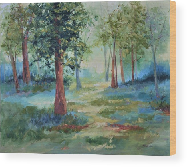 Trees Wood Print featuring the painting A Path Not Taken by Ginger Concepcion