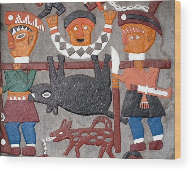 Indigenous Wood Print featuring the photograph Aboriginal Painted Wall Decoration by Yali Shi