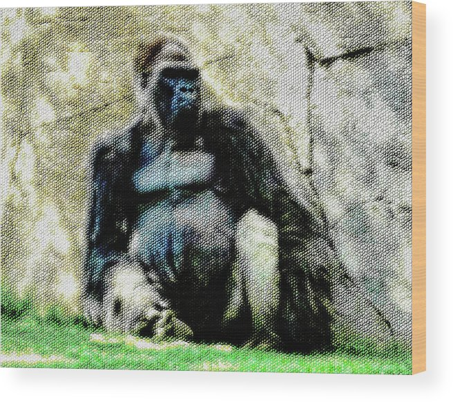Gorilla Wood Print featuring the photograph Abstract Gorilla 12 Version 2 by Kristalin Davis