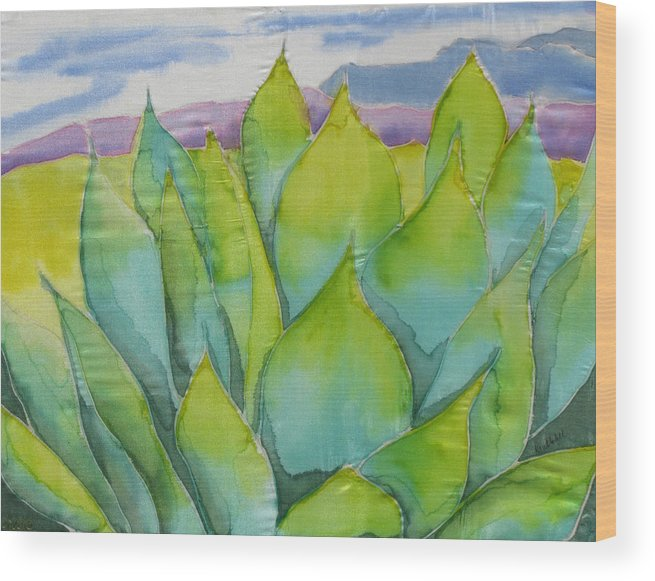 Landscape Wood Print featuring the painting Agave by Kathy Mitchell