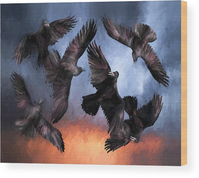 Fine Art Wood Print featuring the painting Airborne Unkindness by David Wagner