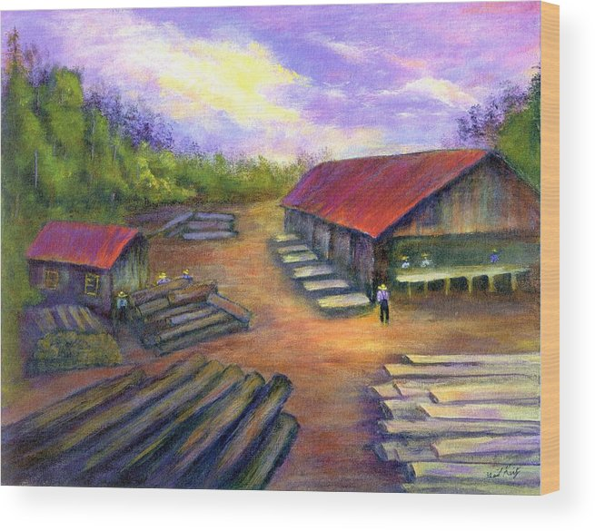 Amish Wood Print featuring the painting Amish Lumbermill by Gail Kirtz
