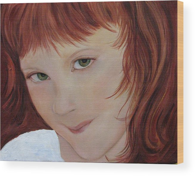 Portrait Wood Print featuring the painting Andee by Aimee Vance