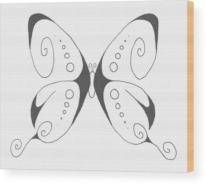 Butterfly Wood Print featuring the drawing Another Butterfly by Marianne Mason