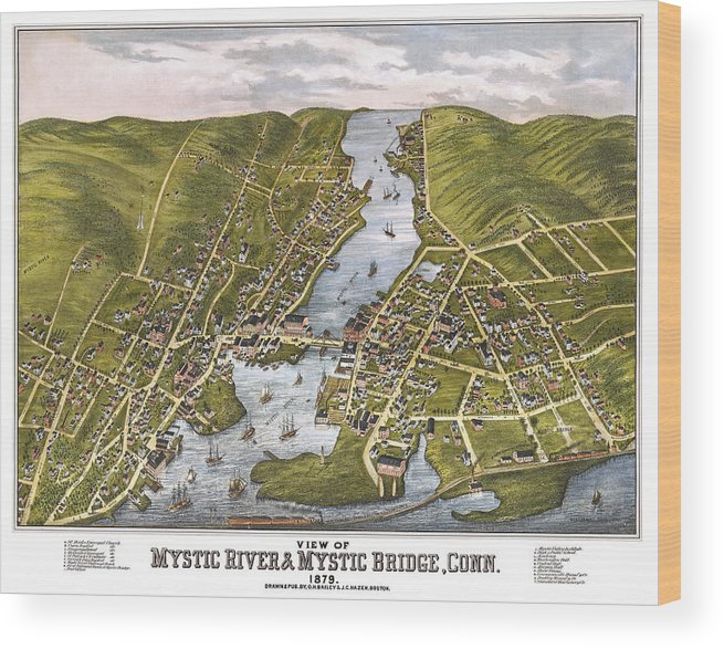 Mystic Wood Print featuring the photograph Antique Map Of Mystic Connecticut by Phil Cardamone
