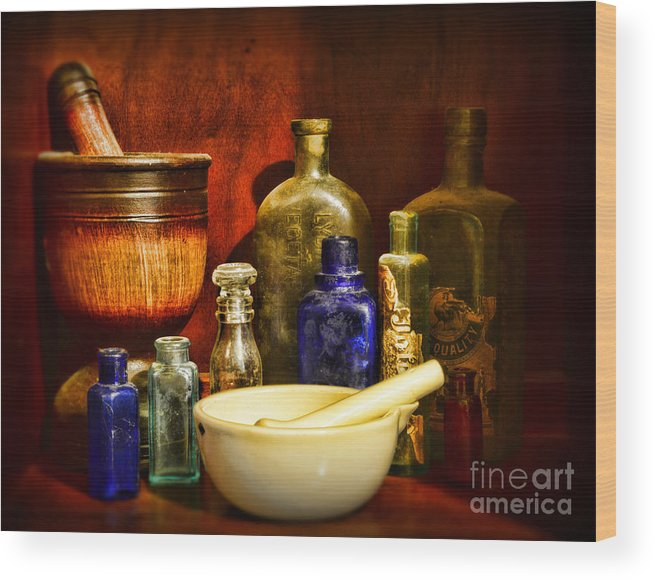 Paul Ward Wood Print featuring the photograph Apothecary - Tools Of The Pharmacist by Paul Ward