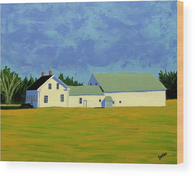 Maine Wood Print featuring the painting April Afternoon Route 17 by Laurie Breton