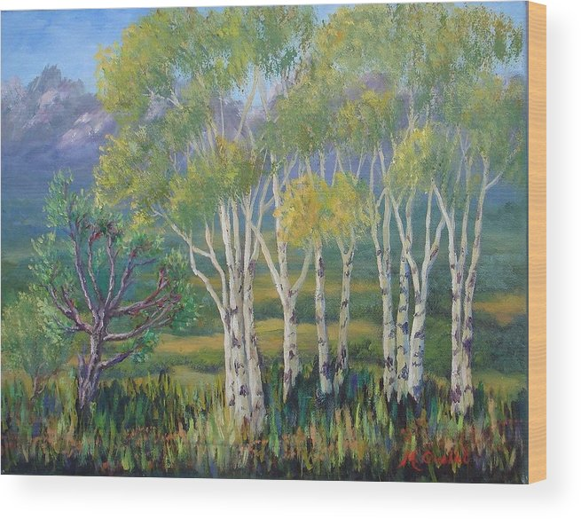 Landscape Wood Print featuring the painting Aspens In The Rockies by Maxine Ouellet