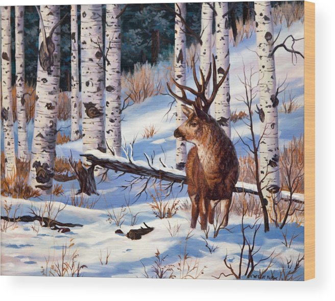 Mule Deer Wood Print featuring the painting At Atttention by W Scott Fenton