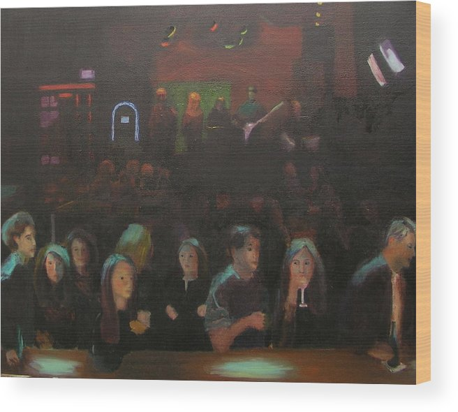Tavern Wood Print featuring the painting At The Bar by Gail Eisenfeld