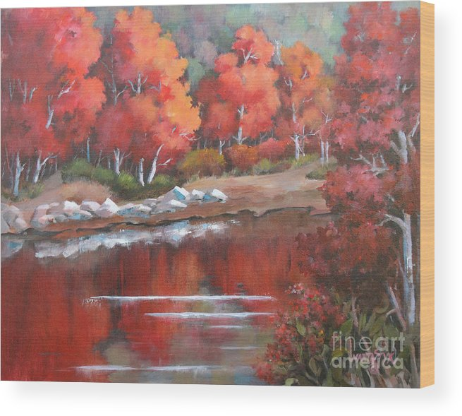 Landscape Wood Print featuring the painting Autumn Reflexions 2 by Marta Styk