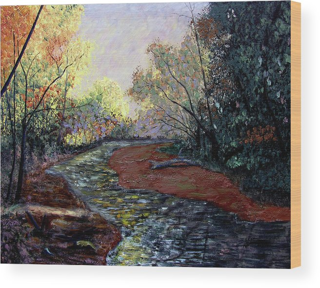 Fall Wood Print featuring the painting Autumn Road by Stan Hamilton