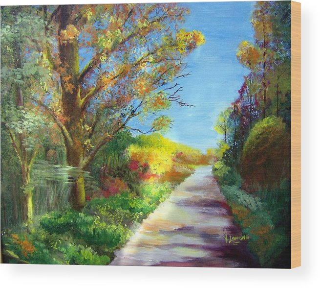 Landscape Wood Print featuring the painting Autumn Roads by Julie Lamons
