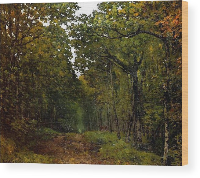 Avenue Of Chestnut Trees Near La Celle-saint-cloud Wood Print featuring the painting Avenue Of Chestnut Trees by MotionAge Designs