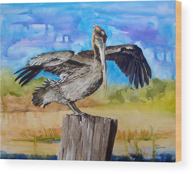 Pelican Wood Print featuring the painting Baby Spreads His Wings by Jean Blackmer