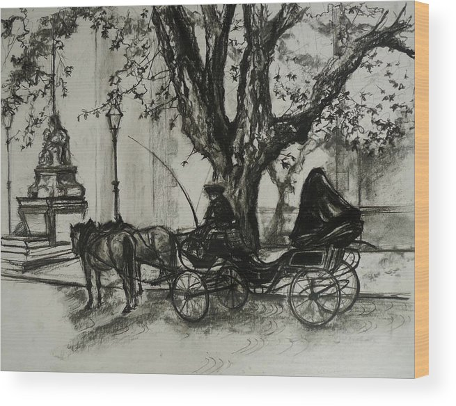 Horse And Carriage Wood Print featuring the drawing Back In Time by Veronica Coulston
