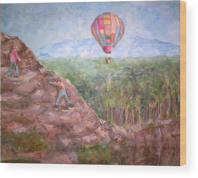 Landscape Baloon And Mountain Trees People Wood Print featuring the painting Baloon by Joseph Sandora Jr