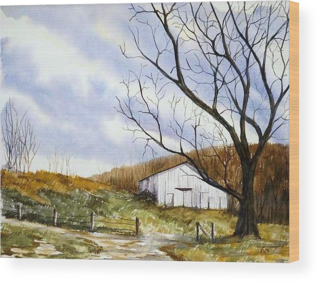 Barn Wood Print featuring the painting Barn At The Stage Stop by Travis Kelley
