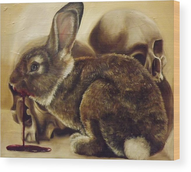 Rabbit Wood Print featuring the painting Battleship Down by Rachel Parry