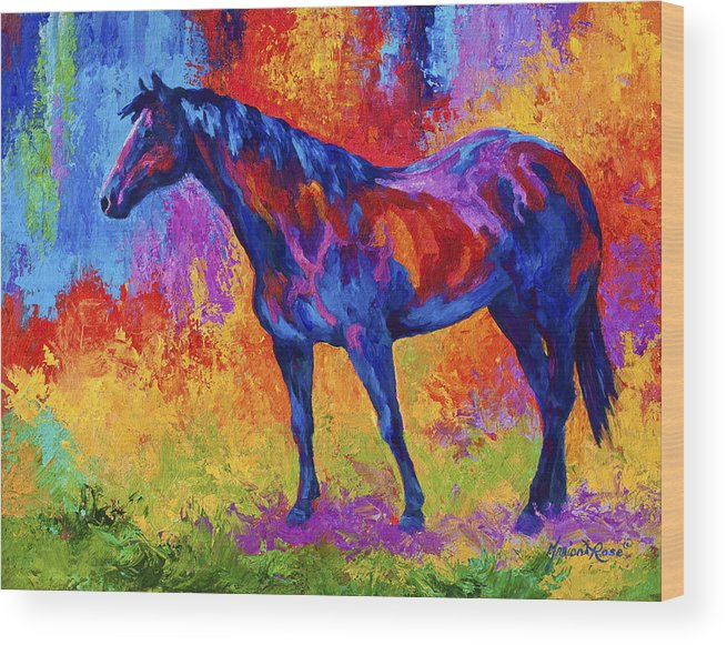 Horses Wood Print featuring the painting Bay Mare II by Marion Rose