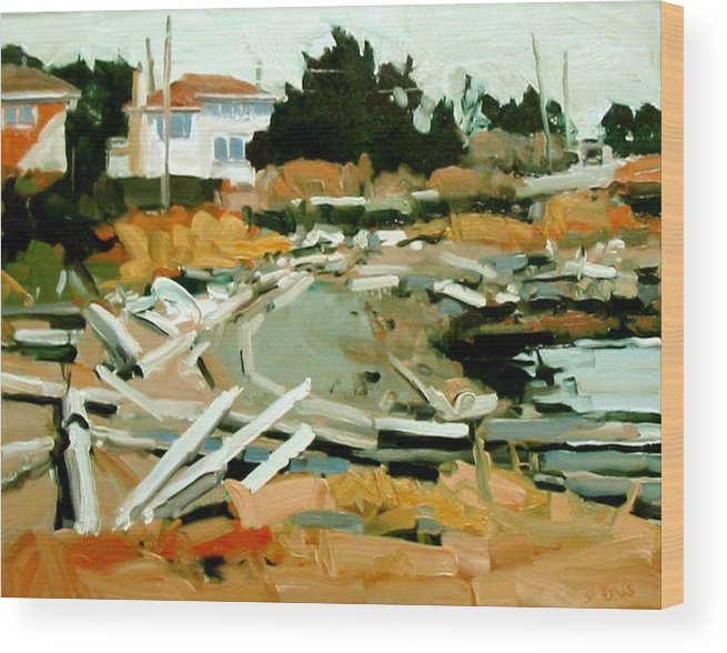 Beach Paintings Wood Print featuring the painting Beach Frontage by Brian Simons