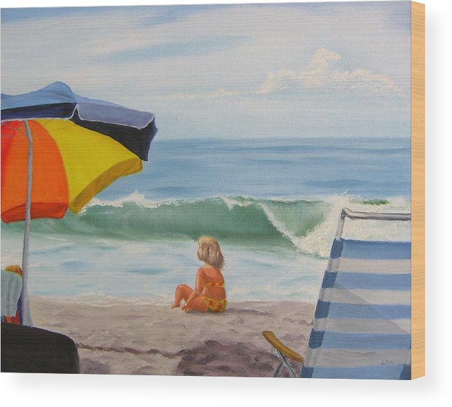 Seascape Wood Print featuring the painting Beach Scene - Childhood by Lea Novak