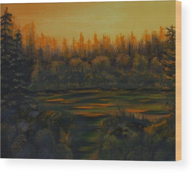 Landscape Wood Print featuring the painting Beaver Pond At Sunset by Rebecca Fitchett