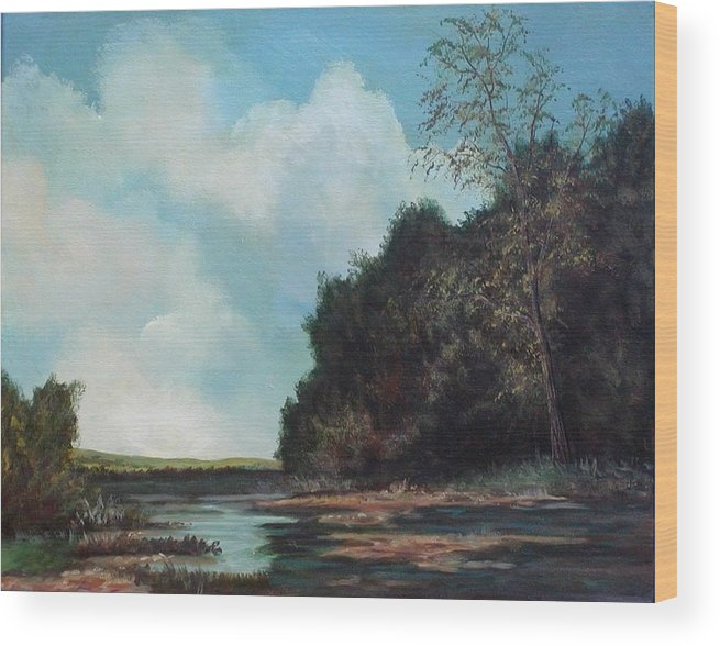 Original Acrylic Landscape On Canvas Wood Print featuring the painting Beside Still Waters by Sharon Steinhaus