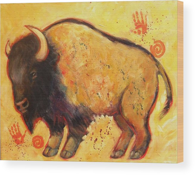 Bison Wood Print featuring the painting Big Bison Totem by Carol Suzanne Niebuhr