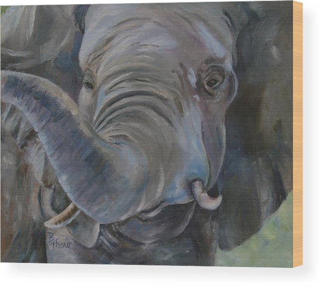 Elephant Wood Print featuring the painting Big Boy by Brenda Thour