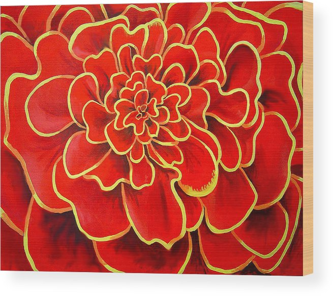 Diptych Wood Print featuring the painting Big Red Flower by Geoff Greene