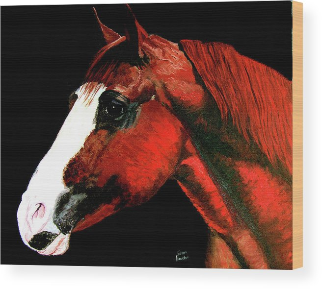 Original Oil On Canvas Wood Print featuring the painting Big Red by Stan Hamilton