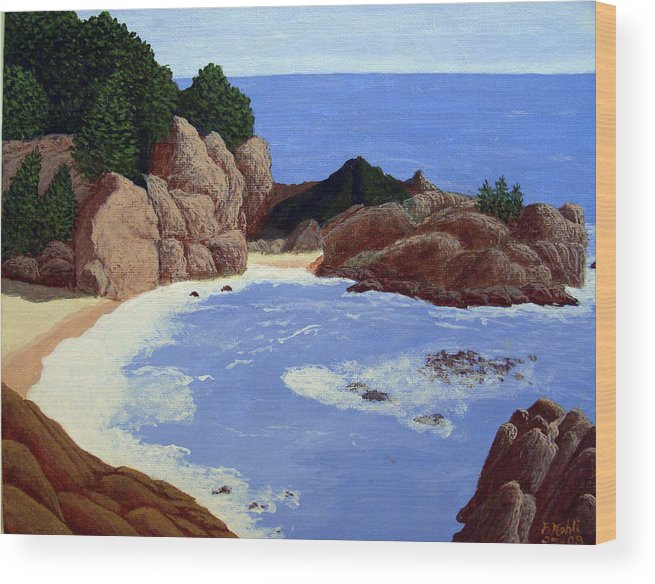 Landscape Art Wood Print featuring the painting Big Sur by Frederic Kohli